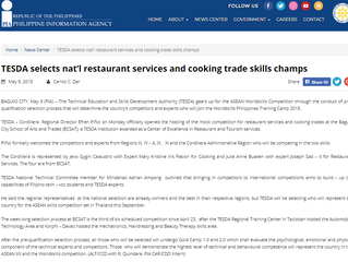 TESDA selects nat'l restaurant services and cooking trade skills champs