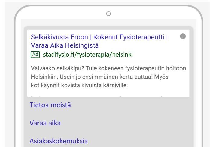 Esimerkki Google Ads mainoksesta