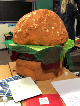 Isis Whiteaway- gaint paper mache burger