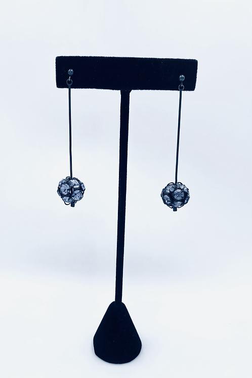 Handcrafted oxidised silver drop earrings