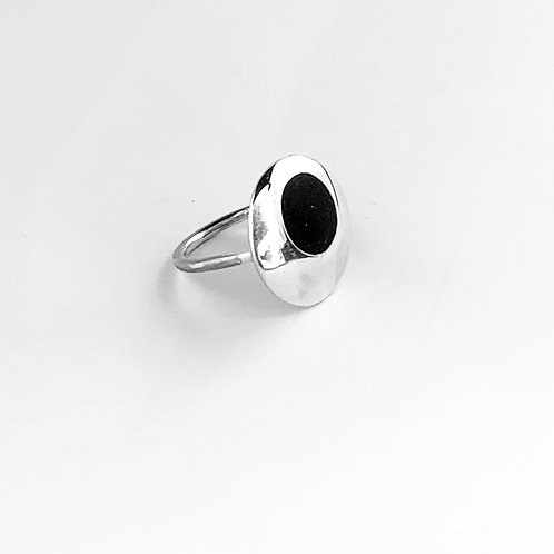 Handcrafted silver, copper and polished cement ring