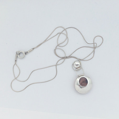 Silver and Copper domed pendant with double snake chain