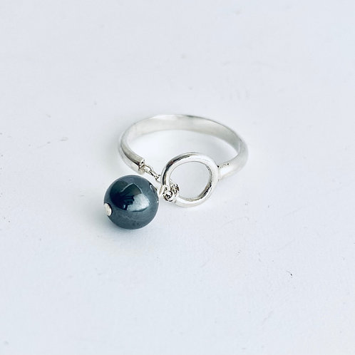 Handcrafted silver and hermatite ring - expandable
