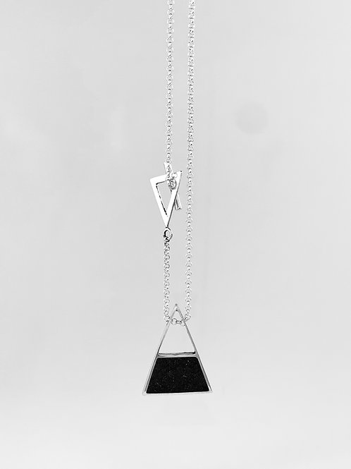 Handcrafted silver and polished cement triangular cement pendant