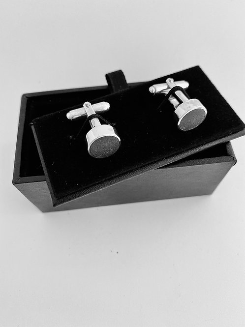 Handcrafted Silver and polished cement cufflinks