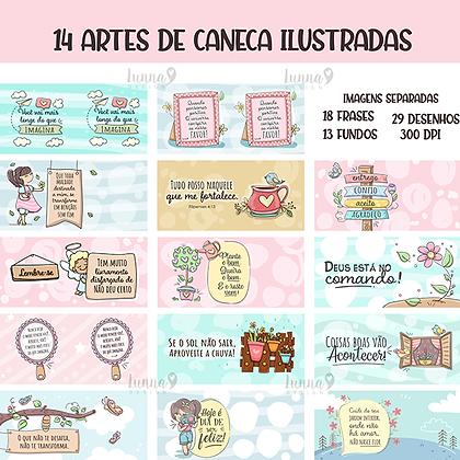 Artes de caneca - Ilustrações e Frases