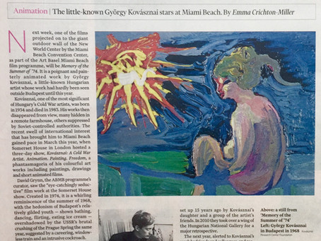 The Financial Times - Animation: György Kovásznai stars at Miami Beach