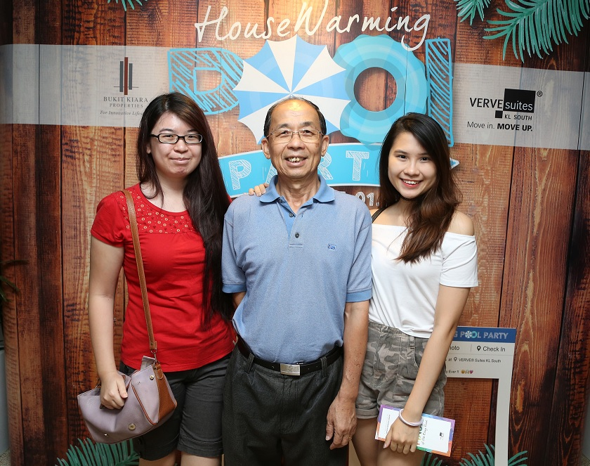 Homeowners attending Housewarming Pool Party with family members at VERVE® Suites KL South.