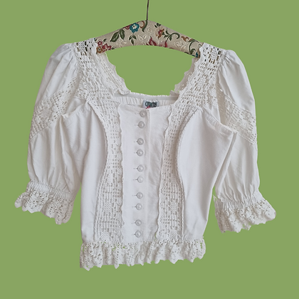 White puff sleeve corset top