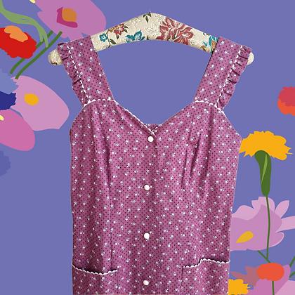 Purple little flowers pinafore dress