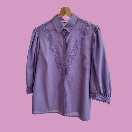 Purple puff sleeve blouse