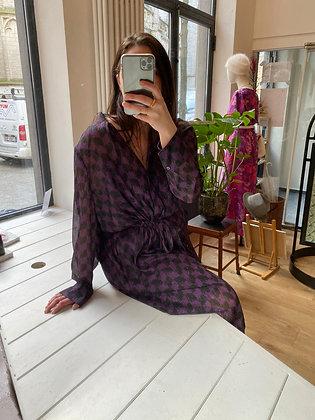 Checked purple dress