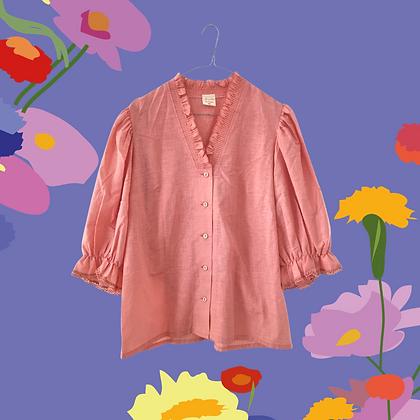 Salmon pink puff sleeve blouse