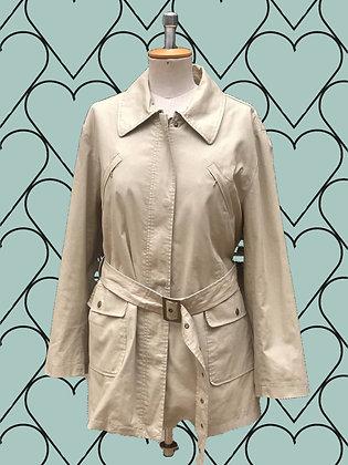 Beige spring coat with belt