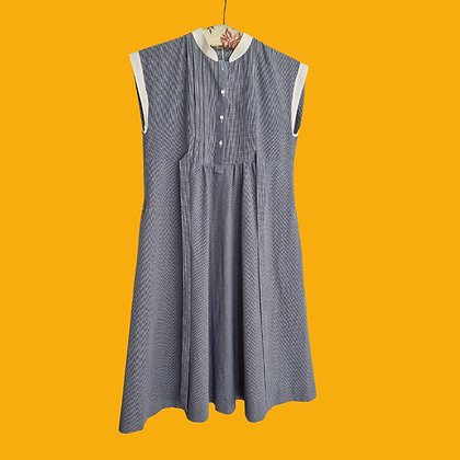 Checked dress with white collar