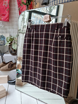 Brown & beige checked skirt