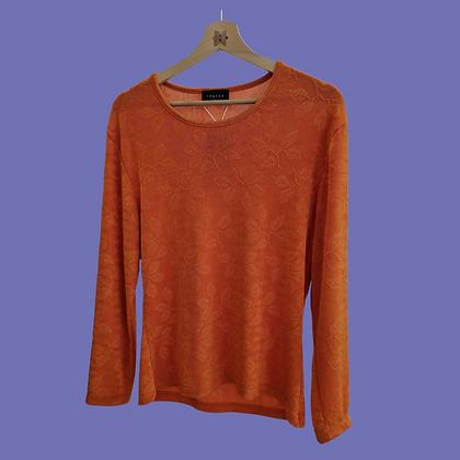 Bright orange textured blouse