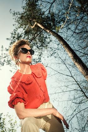 Red blouse with big collar