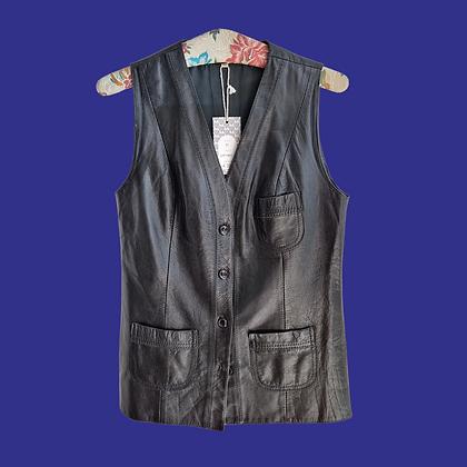 Leather sleeveless vest