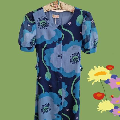 Blue flowers button front dress