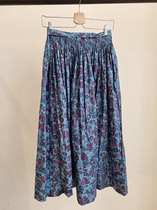 Blue flower print full skirt