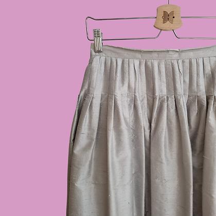 Silver raw silk long skirt