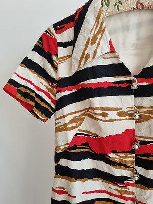 Textured color print A-line dress