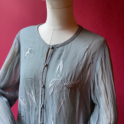 Sheer seagreen embroided blouse