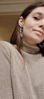 Beige knitted longer sleeve T-shirt