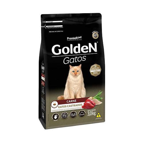 Ração Golden para Gatos Adultos Castrados Sabor Carne - 3 Kg