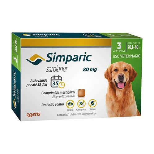 Combo Antipulgas Simparic 80 mg para cães 20,1 a 40 kg 3UND - Zoetis