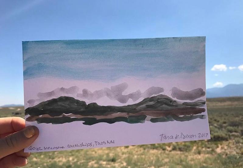 Mesa watercolor, Taos, NM