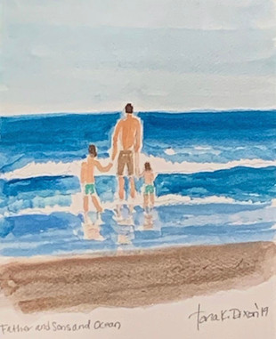 Father And Sons And Ocean