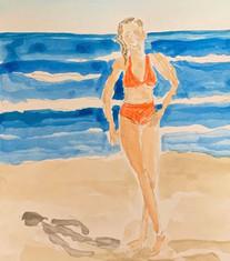 Woman in Orange Bikini