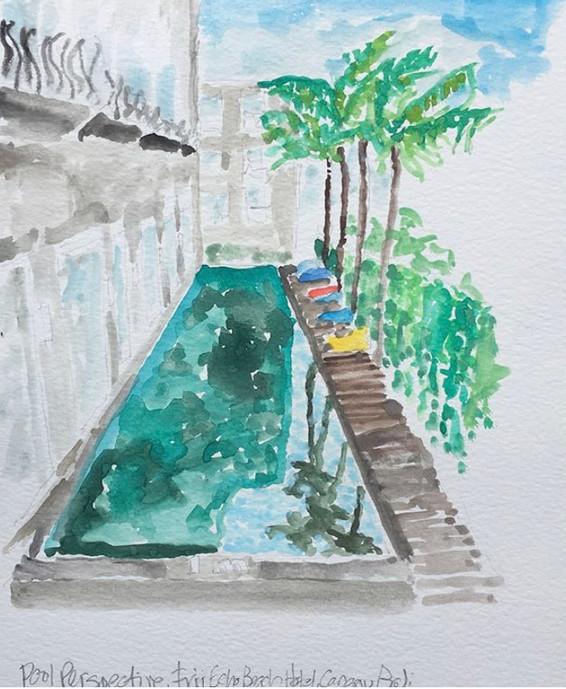 Pool at Frii Echo Beach Hotel, Canngu, Bali