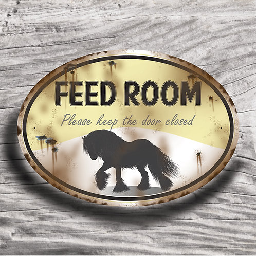 Personalised horse sign: Full-feathered draft, Silhouette