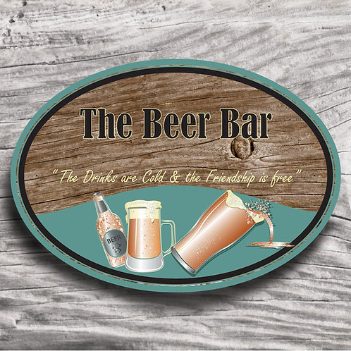 """Personalised Drinks """"Beer """" Wood Effect Sign"""