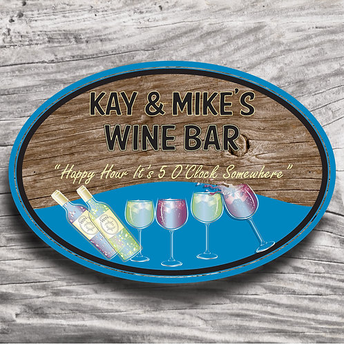 "Personalised Drinks ""Wine"" Wood Effect Sign"