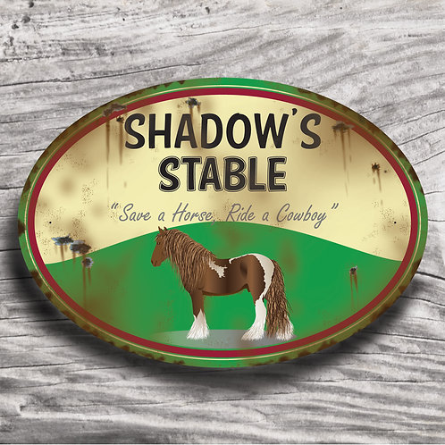 Personalised horse sign: Cold-blood, Skewbald horse/pony