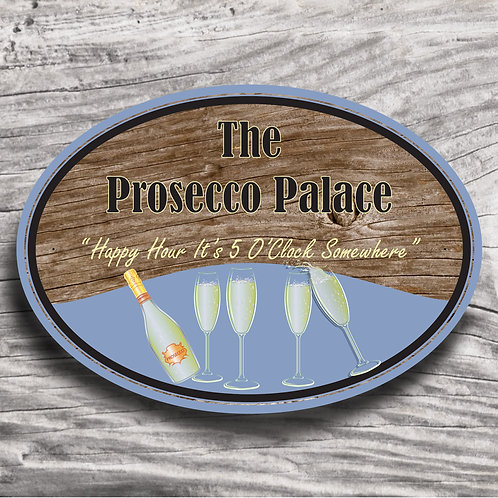 "Personalised Drinks ""Prosecco"" Wood Effect Sign"