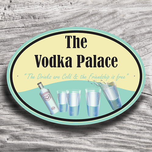 "Personalised Drinks ""Vodka"" Cream Effect Sign"