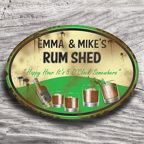 "Personalised Drinks ""Rum"" Cream Effect Sign"