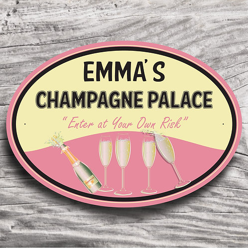 """Personalised Drinks """"Champagne"""" Cream Effect Sign"""