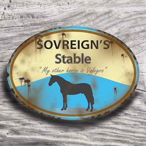 Personalised horse sign: WB-type, Silhouette of horse