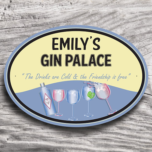 "Personalised Drinks ""Gin"" Cream Effect Sign"