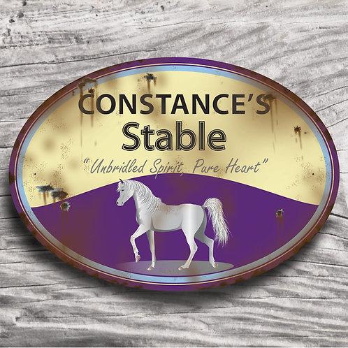 Personalised horse sign: Arab-type, grey horse/pony