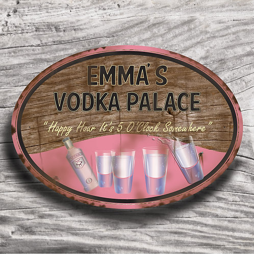 "Personalised Drinks ""Vodka"" Wood Effect Sign"
