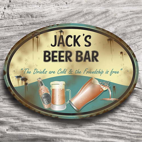 "Personalised Drinks ""Beer "" Cream Effect Sign"