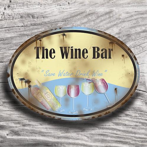 "Personalised Drinks ""Wine"" Cream Effect Sign"