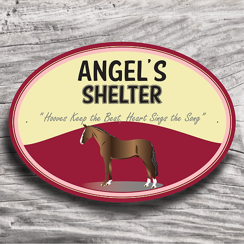 Personalised horse sign: WB-type, brown horse